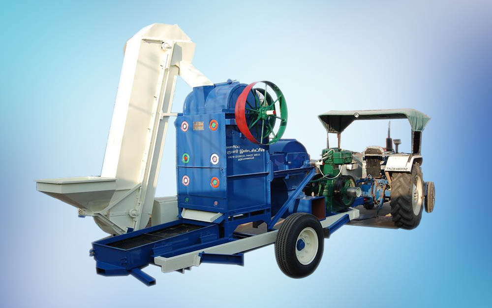 MOBILE GROUNDNUT SEED DECORTICATING MACHINE